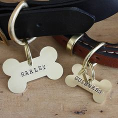 brass bone dog name tag by merry dogs | notonthehighstreet.com