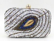 2015 top kwaliteit 100 % met de hand gemaakte vrouwen pauw handtas mode avond clutch portemonnee met ketting 676n daling van de scheepvaart(China (Mainland))