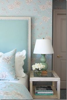 awesome headboard - Tiffany Blue and white. Love this!