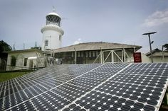 Solar panels at the Pulau Pisang Lighthouse. Pulau Pisang is an island in Malaysian territory but owned and managed by Singapore.  http://www.straitstimes.com/news/singapore/more-singapore-stories/story/open-house-raffles-lighthouse-20140704 Photo: Desmond Lim/The Straits Ties