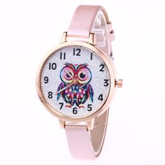 Girl Cute Watches Student Lovely Bracelet Watches Owl Pattern Quartz Wrist Watch Casual PU Leather Strap Watches Gifts  LL@17 #Affiliate