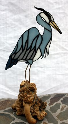 Blue Heron Stained Glass Sculpture on Burl Wood by BerlinGlass
