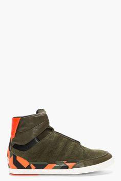 Y-3 Olive Suede Orange-Trimmed High-top Honja Sneakers
