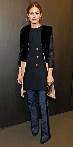 Olivia Palermo's Cute Coat Parade: Every Topper She Wore at Fashion Week | COLOR-BLOCKED COAT | In a fuzzy black-and-camel color-blocked topper at the Rachel Zoe presentation on Tuesday.