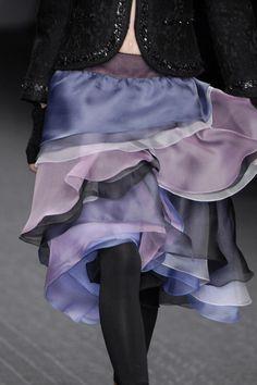 Mariella Burani Fall 2007 - Details. Yum. Black and dusty purplish bluish purples and smokey grays.
