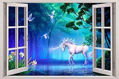 Unicorn Fantasy 3D Window View Decal WALL STICKER Art Mural Legendary Animals C093, giant