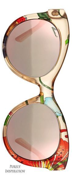 Gucci Fabric-Embed Round Sunglasses, Floral Beige | Purely Inspiration