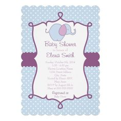 Blue & Purple Polka Dot Elephant Baby Shower Personalized Announcements