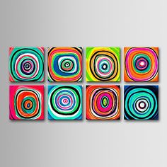 Hand-painted Abstract Oil Painting with Stretched Frame - Set of 8 – USD $ 149.99