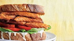 Salmon-Belly BLT with Lemon-Black Pepper Mayo Recipe Pepper Mayo Recipe, Salmon Recipes, Meat Recipes, Healthy Recipes, Easy Summer Dinners, Fresh Tomato Recipes, Smoked Fish, Smoked Salmon, How To Grill Steak