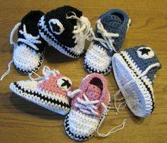 Virka amigurumi -Converse och andra skor till baby