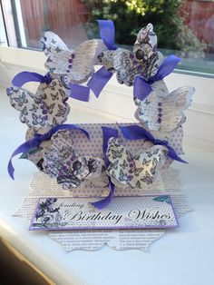 Easel card with Craftwork Cards Time Flies papers and die cut butterflies.
