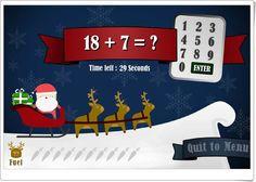 """""""Add with Santa Claus"""" es un juego, de iboard.co.uk, para practicar la suma, con varios niveles de dificultad y de velocidad, por niños desde Educación Infantil hasta los primeros niveles de Educación Primaria."""