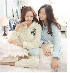 Winter Fashion Women Flannel Pajama Sets White  Flannel Thick Pajamas Warm Pajama Sets Hooded Pajamas Sleepwear for women
