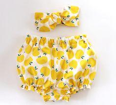 Culotte bouffante bébé et bandeau Set, bandeau fille bébé, culotte de fille de bébé, jaune pommes, ensemble culotte, culotte bouffante bébé