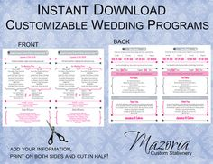 Wedding Program DIY Double Sided Printable Instant Download TEMPLATE (hot pink and grey)