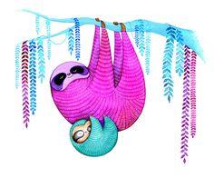 I adore this!! So cute & colorful!! SLOTH Art - Mom & Baby Hanging Sloths - Watercolor Painting Print - Nature Animal Wall Art