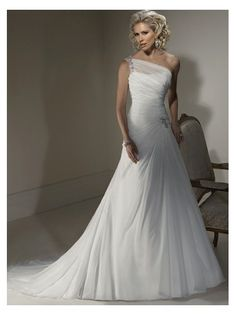 White Wedding Dress One-shoulder Tulle Bridal Gown W120048