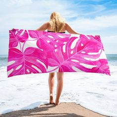 Palm Leaves, Summertime, Sunshine, Pool Towel, Beach Towel, Palm Trees, Gifts for Her, Pink, Bright