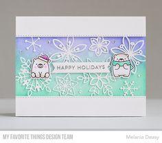 Card Kit: Snowflake Splendor Stamps: Snow Globe Sentiments, Bitty Bears Die-namics: Bitty Bears, Stitched Basic Edges, Essential Fishtail Sentiments  Melania Deasy #mftstamps