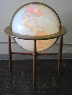"24"" Lighted Floor Globe. Globe Maker: Replogle Globes, Inc. Replogle 24 inch Library globe... c1964. http://www.antiquemapsandglobes.com/Globe/Antique/24%22-Lighted-Floor-Globe?G=7766"