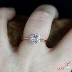 Morganite & Diamond Round Halo Engagement Ring by WanLoveDesigns