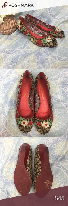 Poetic License Wedge Flats Peep Toe Jaguar Print Good Used Condition.  European size 40. Poshmark has euro 40 as a size 10 but I wear size 9 and these fit me. 1-inch wedge heel with red cork style. Jaguar print with white flowers, green leaves, and cherries. Flirty peep toe and red loop accent around opening.  Comfortable in sole with extra padding on heel and toes. Poetic License Shoes Wedges