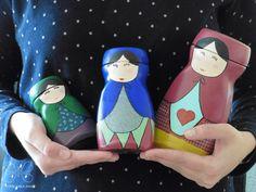 Manualidad de pintar envases de Nescafé como muñecas matrioskas