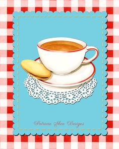 Who fancies a cuppa? Cup of Tea and a Biscuit Illustration print by #PatriciaSheaDesigns at #Etsy