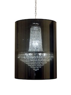 This shade tones down the shiny glass in this chandelier.  Great idea. #chandelier #modern #lights