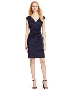 Lauren Ralph Lauren Satin Surplice Dress - Dresses - Women - Macy's