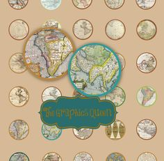Opening Sale-75% OFF-INSTANT DOWNLOAD- 1 Inch Circle Antique Map Digital Collage Bottle Cap Images great for Map Necklace, Magnets, Stickers by TheGraphicsQueen, $1.50