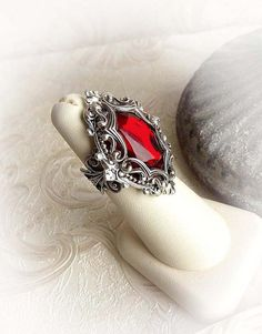 Red crystal ring gothic ring medieval victorian ring red stone ring statement cocktail ring jewelry baroque elegant ring engagement ring