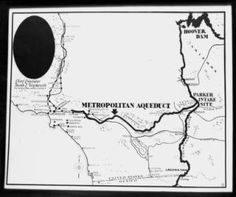 Map showing the aqueduct route from Hoover Dam to the Los Angeles Metropolitan Water District, [s.d.] :: California Historical Society Collection, 1860-1960