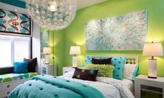 Lime green and aqua blue are great combinations to make the bedroom look modern and cheery.