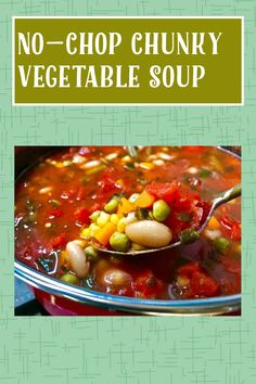Chunky Vegetable Soup, Homemade Vegetable Soups, My Recipes, Gluten Free Recipes, Mixed Vegetables, Bean Soup, Spinach, Beans, Tasty