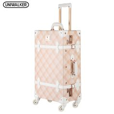 955efe85e7 Spinner Wheels Pink Grating Valise Bagages Pu Leather Suitcase Women Trunk  Vintage Luggages Rolling Luggage for Girls