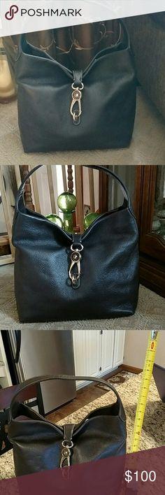 Larger Dooney Bourke leather bag Dark brown large clasp shoulder bag Dooney & Bourke Bags Shoulder Bags