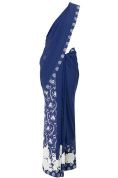 Blue georgette printed pre-stitched sariavailable only at Pernia's Pop-Up Shop.