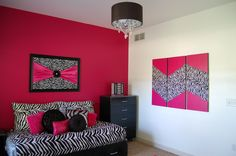 Zebra and hot pink girls bedroom, another angle.