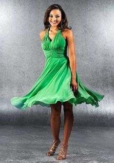 Expensive but it would work and be pretty.  V-Neck Short Length Chiffon Bridemaid Dress Style BD81569
