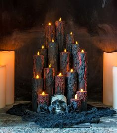Halloween blood candles diy halloween prop how to make halloween candles upcycled cardboard tubes upcycled and repurposed halloween decor. Spooky Halloween Decorations, Halloween Candles, Halloween Party Decor, Holidays Halloween, Scary Halloween, Halloween Crafts, Happy Halloween, Halloween Table, Halloween Cubicle