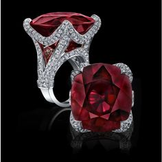 Robert Procop Exceptional Jewels - carat Rubellite Ring in White Gold with White Diamonds (=) Bijoux Design, Schmuck Design, Jewelry Design, Ruby Jewelry, High Jewelry, Silver Jewelry, Jewellery, Luxury Jewelry, Tanzanite Jewelry