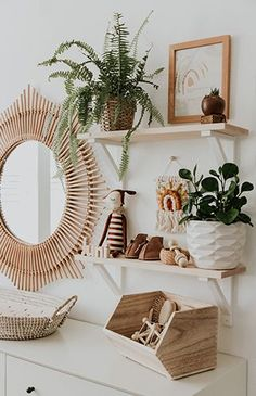 Interior Decor Games Modern Neutral Nursery Full of Plants - Inspired By This.Interior Decor Games Modern Neutral Nursery Full of Plants - Inspired By This Boho Nursery, Nursery Neutral, Woodland Nursery, Nursery Room, Girl Nursery, Nursery Modern, Nursery Mirror, Nursery Shelves, Neutral Nurseries