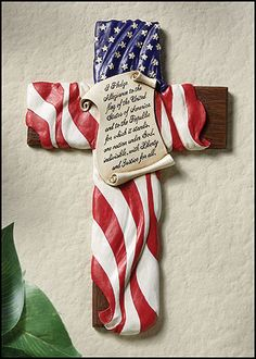 Pledge Of Allegiance American Flag Wall Cross