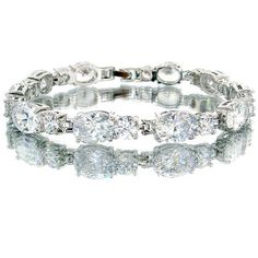Simulated Diamond CZ Oval Silver Tone Bracelet BC437 *** Discover this special product, click the image : Jewelry Bracelets
