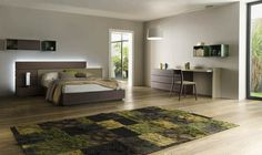 SKIP - Double bed / single / contemporary / with headboard by Alf Uno King Beds, Queen Beds, Headboard Designs, Night Table, Wood Slats, Double Beds, Home Bedroom, Bed Frame, Contemporary