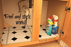 peel and stick vinyl under the sink--keeps it from getting so gross that no amount of scrubbing can help!