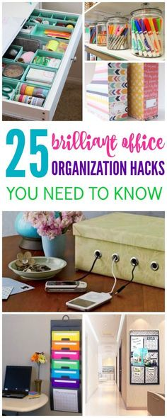 I have 25 Brilliant Office Organization Hacks You Need to Know today! If you looking to get your office organized then check out these great hacks right now!