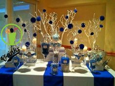 blue and white candy buffet Blue Candy Buffet, Candy Buffet Tables, Party Buffet, Candy Table, Wedding Desserts, Wedding Decorations, Denim And Diamonds, 50th Birthday Party, Decoration Table